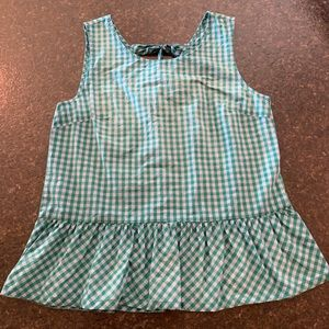 Jcrew Green Gingham Check Tie Blouse Sz S